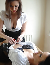 Secretary in Lingerie Student Carole Hunt and Helen Carter