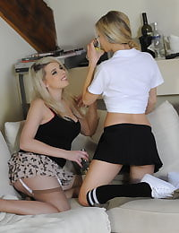 Secretary in Stockings Miss Holli and Sophie Barrett in June 2011