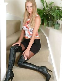 Hayley Marie in thigh high boots and pantyhose
