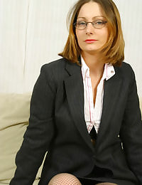 Jo May in specs as a sexy secretary