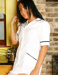 Sexy nurse Michelle in white stockings