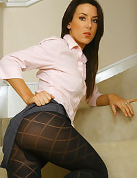 Beautiful Sabrina peeling of her work clothes to expose her sexy patterned pantyhose