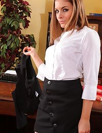 Saucy secretary sneaks into her boss's office and strips out of her sexy office clothes.