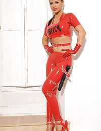 Red latex and a big black cock