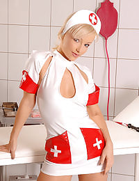 Hot nurse Maya stripteasing