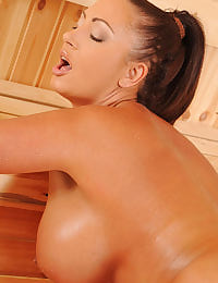 Emma heating up in the sauna!
