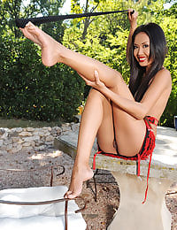 Exotic Danika soloing outdoors