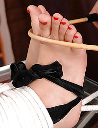 Tied up, feet licked