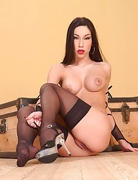 Mya Diamond poses in stockings