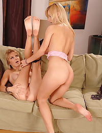 Hot blondes toying each other