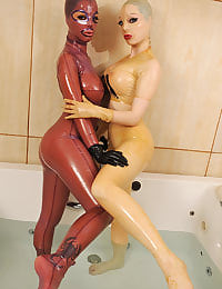 Latex beauties enjoy the tub!