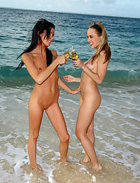 Tanner Mayes and Blue Angel on the Beach with her shaved pussy