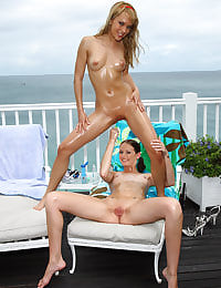 Blue Angel and Hailey Young in Paradise with her shaved pussy