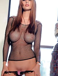 Shay Laren in in a fishnet top and pink panties