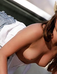 Tori Black in Hanging out in the pickup bed in white top jean skirt