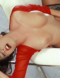 Nika in in a tiny red top and black lingerie