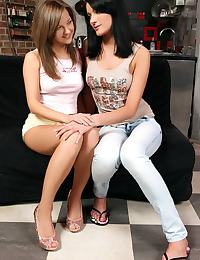 Sublime teens fuck a massive dildo