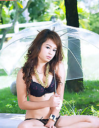 Clear Parasol See through Negligee Outdoors