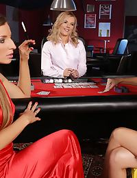 Three sultry vixens in casino orgy