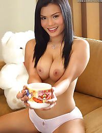 Asian sally 05 breakfast milk messy hanging tits