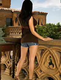 Short Jeans Brown Dress on Balcony