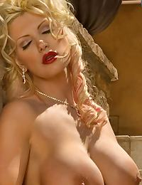 Busty Blonde Victorian Lady shows Pink